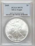 Modern Bullion Coins, 2005 $1 Silver Eagle MS70 PCGS. PCGS Population (27). NGC Census:(3377). Numismedia Wsl. Price for problem free NGC/PCGS ...