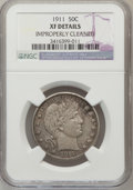 Barber Half Dollars, 1911 50C --Improperly Cleaned--NGC Details. XF. NGC Census:(2/252). PCGS Population (14/368). Mintage: 1,406,543. Numismedi...