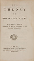 Books:Philosophy, Adam Smith. The Theory of Moral Sentiments. London: Printedfor A. Millar, in the Strand; and A. Kincaid and J. Bell...