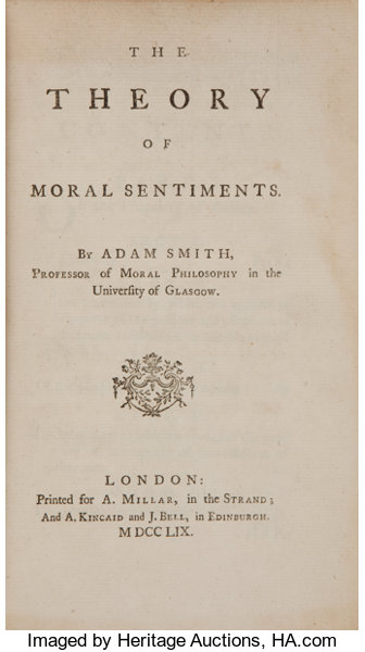Adam Smith The Theory Of Moral Sentiments London Printed For A