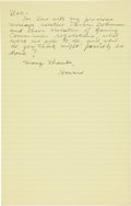 "Autographs:Celebrities, Howard Hughes Autograph Letter Signed ""Howard.""... (Total: 5Items)"