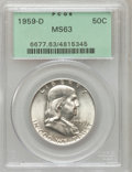 Franklin Half Dollars: , 1959-D 50C MS63 PCGS. PCGS Population (238/1463). NGC Census:(123/1883). Mintage: 13,053,750. Numismedia Wsl. Price for pr...