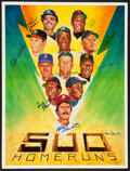 Baseball Collectibles:Others, 500 Home Run Club Multi Signed Print....