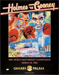 Boxing Collectibles:Autographs, Larry Holmes Vs. Gerry Cooney Multi Signed LeRoy Neiman FightPoster....