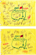 Golf Collectibles:Autographs, 2003 and 2005 Multi Signed Masters Flags Lot of 2....