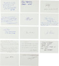 Autographs:Index Cards, Baseball Greats Signed Index Cards With Lengthy Inscriptions....