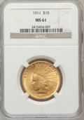 Indian Eagles: , 1911 $10 MS61 NGC. NGC Census: (1922/5643). PCGS Population(772/4552). Mintage: 505,595. Numismedia Wsl. Price for problem...