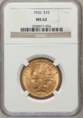 Indian Eagles: , 1926 $10 MS62 NGC. NGC Census: (12690/16970). PCGS Population(11386/13517). Mintage: 1,014,000. Numismedia Wsl. Price for ...