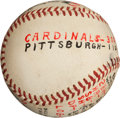 Autographs:Baseballs, 1960 Bob Gibson Third Victory of Season Game Used Baseball....