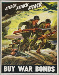 "Movie Posters:War, World War II Propaganda (U.S. Government Printing Office, 1942).War Bond Poster (22"" X 28"") ""Attack Attack Attack."" War.. ..."