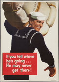 """Movie Posters:War, World War II Poster """"If You Tell Where He's Going...He May NeverGet There!"""" (U.S. Government Printing Office, 1943). Propag..."""