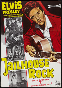 "Jailhouse Rock (Stockholm Film, R-1966). Swedish One Sheet (27"" X 39""). Elvis Presley"
