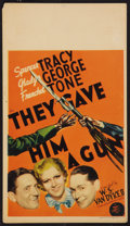 "Movie Posters:Crime, They Gave Him a Gun (MGM, 1937). Midget Window Card (8"" X 14"").Crime.. ..."