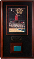 """Basketball Collectibles:Photos, 1998 Michael Jordan Signed """"Final Floor"""" Upper Deck Authenticated Photograph and Game Used Court Piece Display...."""