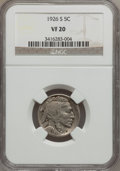Buffalo Nickels: , 1926-S 5C VF20 NGC. NGC Census: (174/810). PCGS Population(233/921). Mintage: 970,000. Numismedia Wsl. Price for problem f...