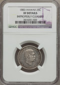 Coins of Hawaii, 1883 25C Hawaii Quarter--Improperly Cleaned--NGC Details. XF. NGCCensus: (13/1011). PCGS Population (41/1492). Mintage: 50...