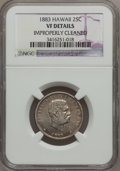 Coins of Hawaii, 1883 25C Hawaii Quarter--Improperly Cleaned--NGC Details. VF. NGCCensus: (7/1035). PCGS Population (5/1573). Mintage: 500,...