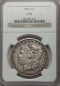 Morgan Dollars: , 1899 $1 Fine 15 NGC. NGC Census: (10/7744). PCGS Population(15/10407). Mintage: 330,846. Numismedia Wsl. Price for problem...