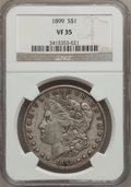 Morgan Dollars: , 1899 $1 VF35 NGC. NGC Census: (8/7714). PCGS Population (24/10326).Mintage: 330,846. Numismedia Wsl. Price for problem fre...