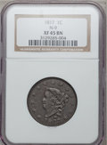 Large Cents, 1817 1C 13 Stars XF45 Brown NGC. N-9. NGC Census: (18/381). PCGSPopulation (16/198). Mintage: 3,948,400. Numismedia Ws...