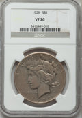 Peace Dollars: , 1928 $1 VF20 NGC. NGC Census: (6/5361). PCGS Population (10/7568).Mintage: 360,649. Numismedia Wsl. Price for problem free...