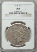 Peace Dollars: , 1928 $1 VF25 NGC. NGC Census: (15/5346). PCGS Population (7/7561).Mintage: 360,649. Numismedia Wsl. Price for problem free...