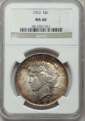 Peace Dollars: , 1922 $1 MS60 NGC. NGC Census: (84/157643). PCGS Population(81/103404). Mintage: 51,737,000. Numismedia Wsl. Price for prob...