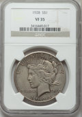 Peace Dollars: , 1928 $1 VF35 NGC. NGC Census: (16/5314). PCGS Population (22/7520).Mintage: 360,649. Numismedia Wsl. Price for problem fre...