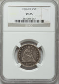 Seated Quarters: , 1876-CC 25C VF25 NGC. NGC Census: (7/229). PCGS Population(11/291). Mintage: 4,944,000. Numismedia Wsl. Price for problem ...