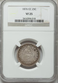 Seated Quarters: , 1876-CC 25C VF25 NGC. NGC Census: (9/229). PCGS Population(11/291). Mintage: 4,944,000. Numismedia Wsl. Price for problem ...