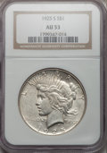 Peace Dollars: , 1925-S $1 AU53 NGC. NGC Census: (88/4376). PCGS Population(84/5839). Mintage: 1,610,000. Numismedia Wsl. Price for problem...