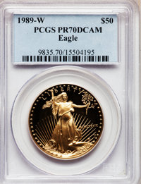 1989-W G$50 One-Ounce Gold Eagle PR70 Deep Cameo PCGS. PCGS Population (241). NGC Census: (701). Mintage: 54,570. Numism...