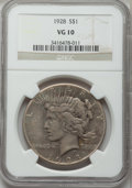 Peace Dollars: , 1928 $1 VG10 NGC. NGC Census: (7/5385). PCGS Population (7/7586).Mintage: 360,649. Numismedia Wsl. Price for problem free ...