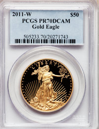 2011-W $50 One-Ounce Gold Eagle PR70 Deep Cameo PCGS. PCGS Population (52). NGC Census: (0). Numismedia Wsl. Price for p...