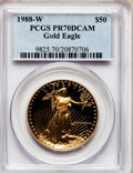 1988-W G$50 One-Ounce Gold Eagle PR70 Deep Cameo PCGS. PCGS Population (254). NGC Census: (900). Mintage: 87,133. Numism...