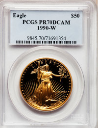 1990-W G$50 One-Ounce Gold Eagle PR70 Deep Cameo PCGS. PCGS Population (152). NGC Census: (651). Mintage: 62,401. Numism...