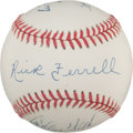 Autographs:Baseballs, 1980's-2000's Longest Serving Catchers Multi-Signed Baseball....