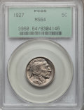 Buffalo Nickels: , 1927 5C MS64 PCGS. PCGS Population (613/948). NGC Census: (361/388). Mintage: 37,981,000. Numismedia Wsl. Price for problem...