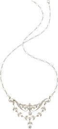 Estate Jewelry:Necklaces, Diamond, Platinum-Topped Gold Necklace. ...