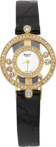 Estate Jewelry:Watches, Chopard Lady's Diamond, Gold Happy Diamonds Wristwatch, modern. ...