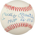 "Autographs:Baseballs, 1980's Mickey Mantle ""MVP '56 '57 '62"" Single SignedBaseball, PSA NM-MT-8...."