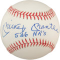 "Autographs:Baseballs, 1980's Mickey Mantle ""536 HR's"" Single Signed Baseball,PSA/DNA Mint 9...."