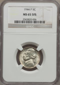 Jefferson Nickels, 1944-P 5C MS65 5 Full Steps NGC. NGC Census: (25/63). PCGSPopulation (249/172). Numismedia Wsl. Price for problem free NG...