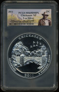 2011 25C Chickasaw National Park Five Ounce Silver MS69 Deep Mirror Prooflike PCGS. PCGS Population (28/0). NGC Census:...