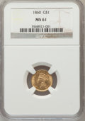 Gold Dollars: , 1860 G$1 MS61 NGC. NGC Census: (36/77). PCGS Population (8/72).Mintage: 36,668. Numismedia Wsl. Price for problem free NGC...