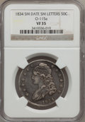 Bust Half Dollars, 1834 50C Small Date, Small Letters VF35 NGC. O-115a. NGC Census:(38/1894). PCGS Population (31/914)....