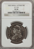 Bust Half Dollars: , 1832 50C Small Letters VF20 NGC. O-118. NGC Census: (17/1754). PCGSPopulation (15/1900). Mintage: 4,797,000. Numismedia W...