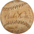 Autographs:Baseballs, Early 1930's Babe Ruth, Lou Gehrig & Others Signed Baseball....