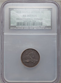 1858 1C Small Letters -- Environmental Damage -- NCS. AU Details. NGC Census: (0/0). PCGS Population (46/694). Numismedi...