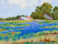 Texas:Early Texas Art - Regionalists, BYRON FULLERTON (American, b. 1929). Field of Blue Bonnets withFarm House. Oil on canvas. 12 x 16 inches (30.5 x 40.6 c...